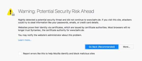 Lỗi cảnh báo trên Firefox