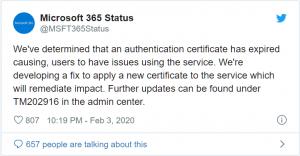 MS quên gia hạn SSL cho dịch vụ Teams của họ